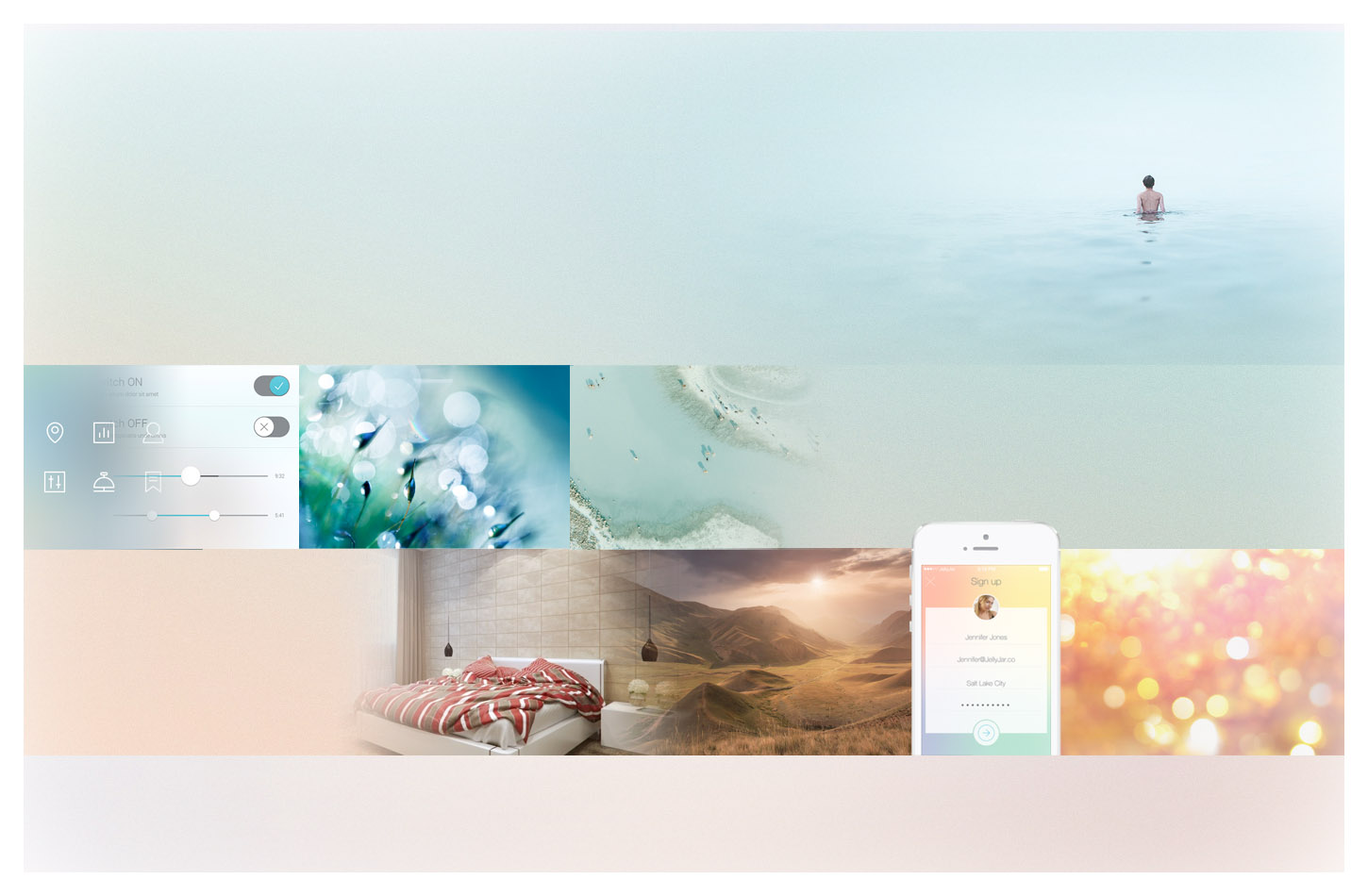 This moodboard shows lights treated as soft sunrises and warm sunsets. The product is the promise of a never-ending daylight. Colors are glowing, like a peaceful sensation spreading from the LEDs. Watercolour and pastel tones release a sensation of simplicity. Colors are floating, light is flowing, as using the product is natural and fluid.